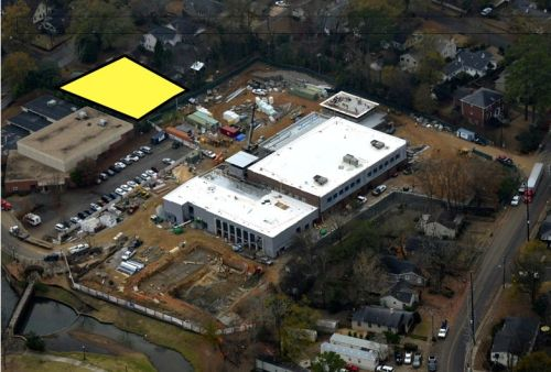 "The yellow segment shows the approximate size of the proposed Exceptional Foundation addition. The agency's architect has repeatedly said the expansion would ""square up"" the recreational activity area."